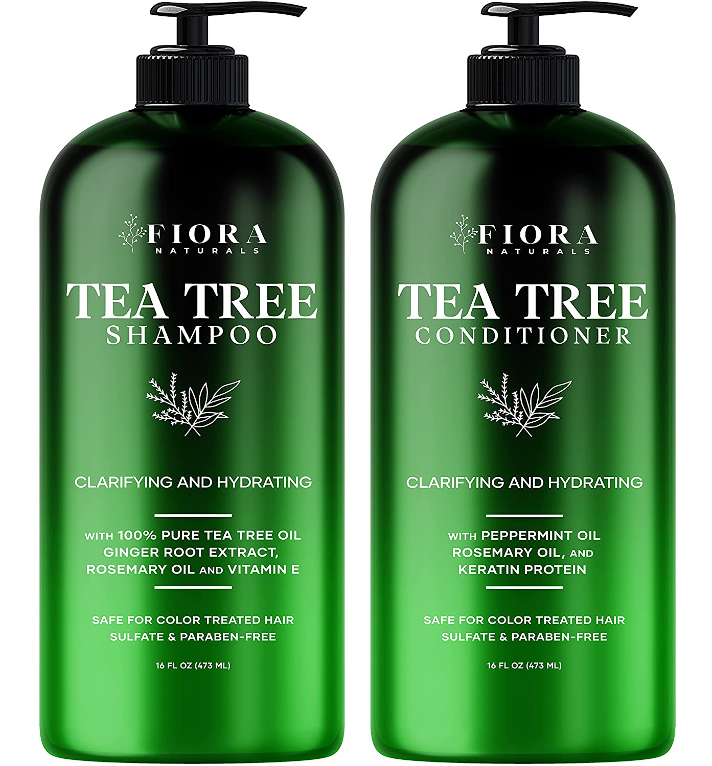 Tea Tree Shampoo and Conditioner Max 54% OFF Set Naturals Sulfate Fiora Sale Special Price - by