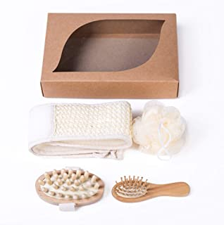 Xena 4 Piece Spa Loofah Bath Gift Set Supplies Bathroom Accessories Storage Organizer Washcloth Loofa Sponge Eco Friendly Bamboo Natural Brush Back Scrubber Large Gift Box 9.8 Inch