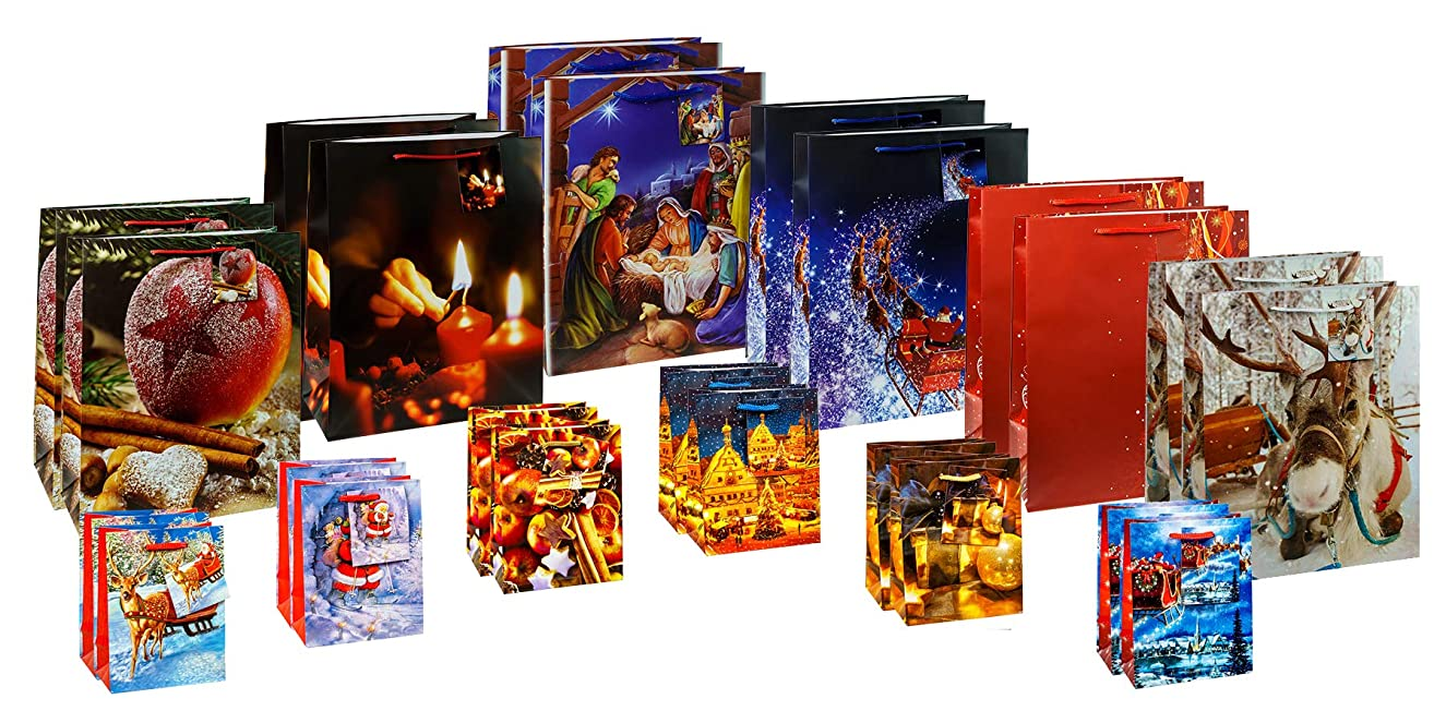 TSI Gift Bags Set Xmas Special 1, 24 Christmas Bags (12x Small and 12x Large Sizes)