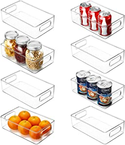 Set of 8 Refrigerator Organizer Bins, 10×6×3 Inch,Stackable Clear Plastic Food Storage organizers with Handles For Fridge, Pantry, Kitchen Cabinet, Drawers and Countertops, BPA Free Freezer containers