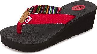 High Heel Wedge Sandals for Women-Comfort Yoga Mat Footbed for Support, Flip Flop Thong Platforms for Summer