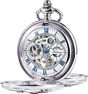 TREEWETO ساعت جیبی مکانیکی Dream Dragon Skeleton Half Hunter Double Open Silver / Bronze / Black Case