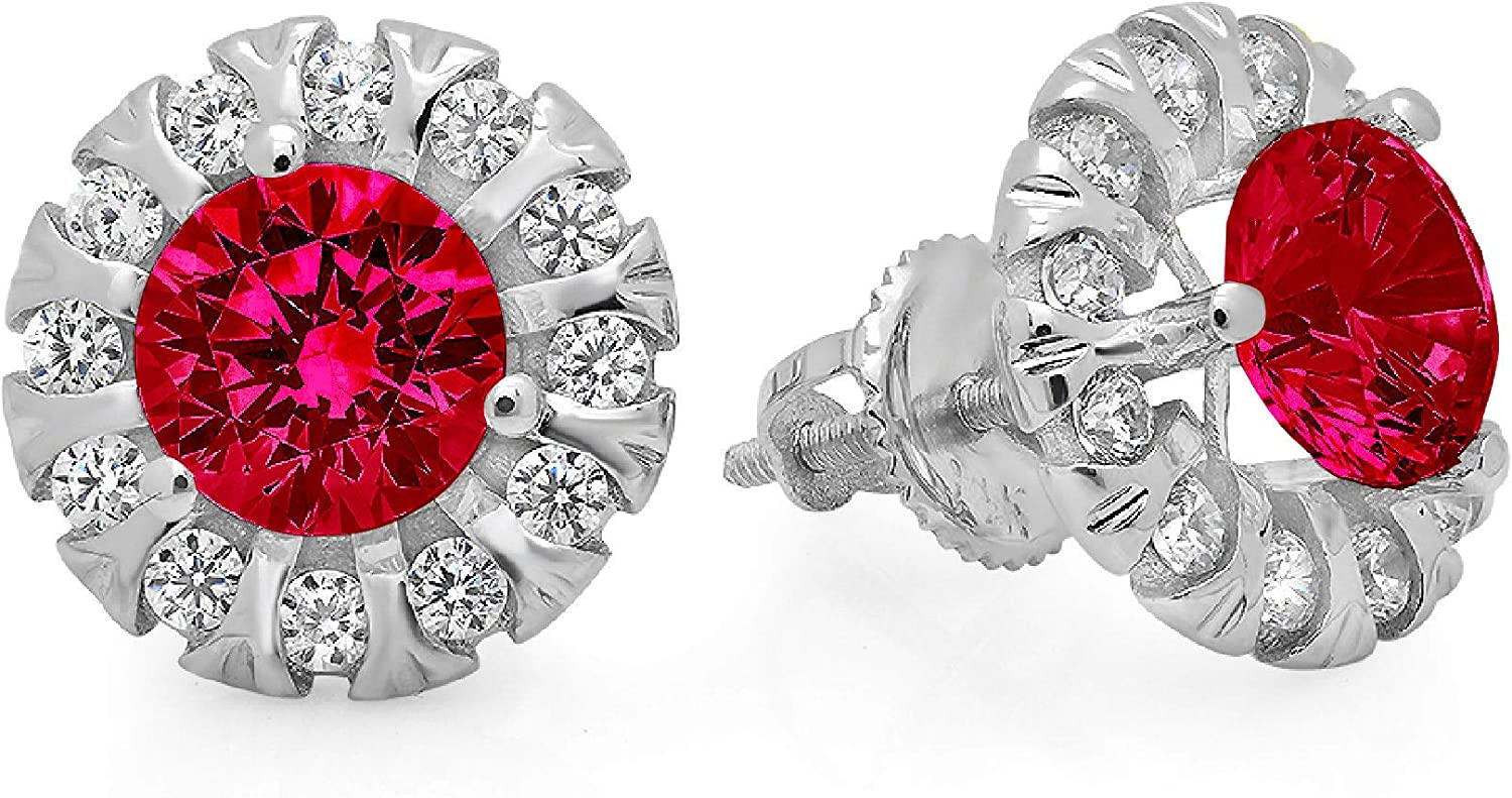 0.92cttw Brilliant Round Cut Halo Solitaire VVS1 Flawless Genuine Pink Tourmaline Gemstone Unisex Pair of Solitaire Stud Screw Back Designer Earrings Solid 18k White Gold