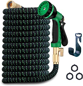 WDFZONE Expandable Garden Hose Expand from 33 to 100 Feet, Upgraded Collapsible Flexible Water Hose with 8 Function Spray Nozzle, Durable 3-Layers Latex Core with 3/4