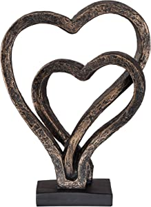 """Kensington Hill Interlocking Hearts 11 3/4"""" High Bronze Sculpture"""