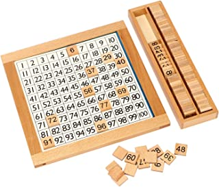 Montessori Math Hundred Board 100 Grid Wooden Toys Counting Blocks Puzzles Wood Preschool Educational Toy for Kids Kindergarten First Grade Students Early Math Number Teaching Tool Homeschool Math Too