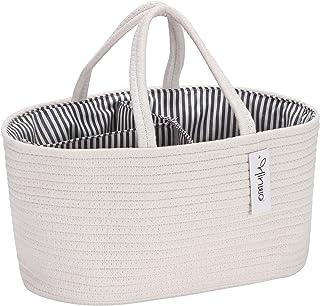 Hinwo Baby Diaper Caddy 3-Compartment Infant Nursery Tote Storage Bin Portable Car Organizer Newborn Shower Gift Basket Co...