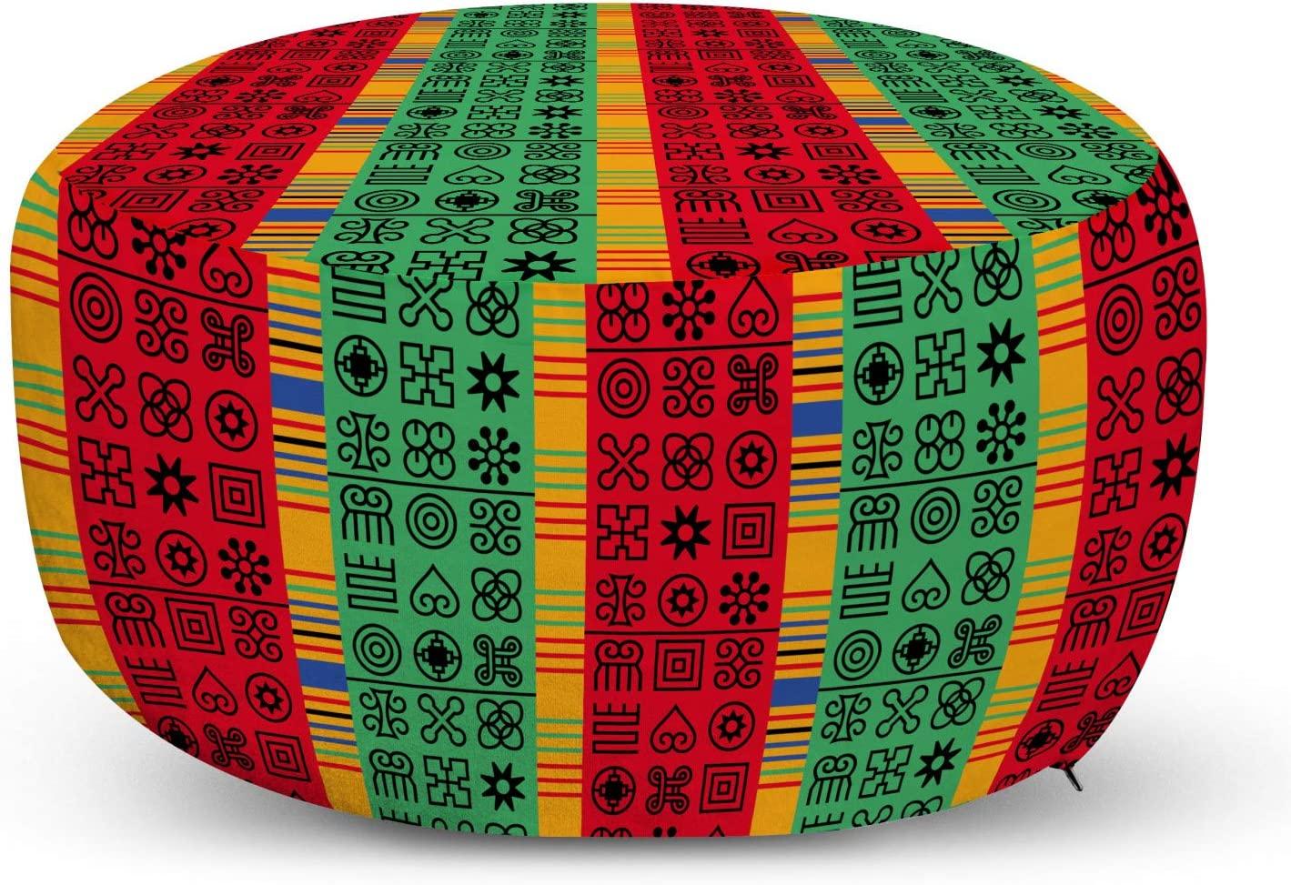 Lunarable Cheap bargain Ghana Ottoman Pouf Abstract 70% OFF Outlet Stamp Look Colorful with