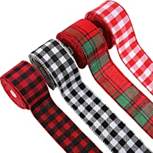 4 Rolls Buffalo Ribbon Christmas Plaid Burlap Ribbon Red Black White Wired Edge Ribbon for DIY Wrapping Crafts Decoration,...
