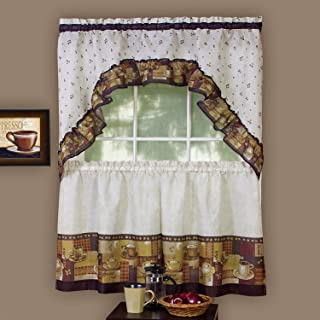Sweet Home Collection 3 Piece Kitchen Curtain Set Classic Design with Tier Pair and Swag 36
