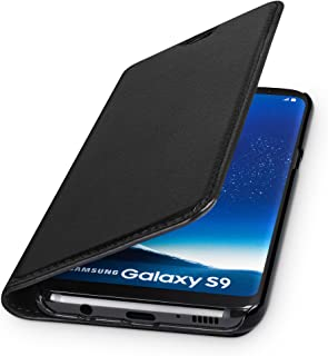 WIIUKA Echt Ledertasche  TRAVEL  für Samsung Galaxy S9 mit Kartenfach, extra Dünn, Tasche Schwarz, Leder Hülle kompatibel mit Samsung Galaxy S9