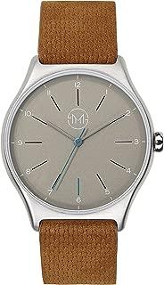 one 04 - Extra slim unisex wrist watch in silver/brown