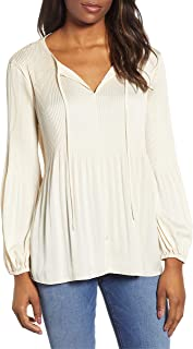 Lucky Brand Women's PLEATED PEASANT TOP Shirt