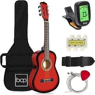 بهترین انتخاب محصولات 30 اینچی مبتدی گیتار صوتی مبتدی گیتار با تیونر برقی ، بند ، کیف ، سیم - Redburst