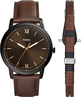 Fossil Men's Quartz Wrist Watch analog Display and Leather Strap, FS5557SET