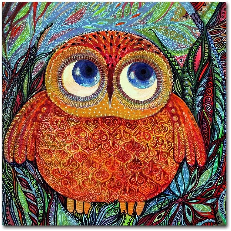 Trademark Fine Art Baby Owl by Oxana Ziaka, 14x14 Canvas Wall Art