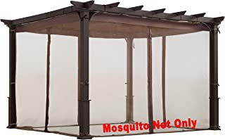 ALISUN Mosquito Net for Flat-Roof Pergola - Mesh Bug Net Only (10 ft. x 10 ft, Brown)