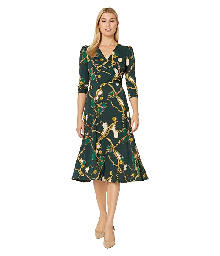 Donna Morgan  Status Print 3/4 Sleeve Lightweight Stretch Crepe Fit and Flare Dress (Green Cali Chain) Womens Clothing