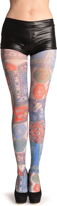 Blue, Green & Terracotta Aztec Panels - Pantyhose (Tights)