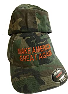 Camo FlexFit Trump Hat Embroidery Cap MAGA Make America Great Again Orange Thread Size L - XL