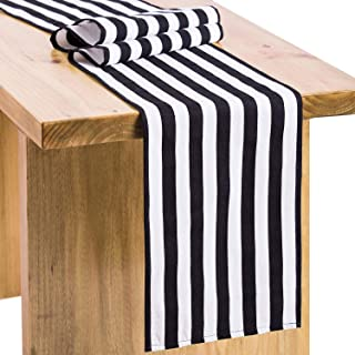 Letjolt Black White Fabric Striped Table Runner Christmas Table Runner New Year Dinner Table Decoration Xmas Table Ornaments Pirate Party Birthday Party, 12x108 Inches