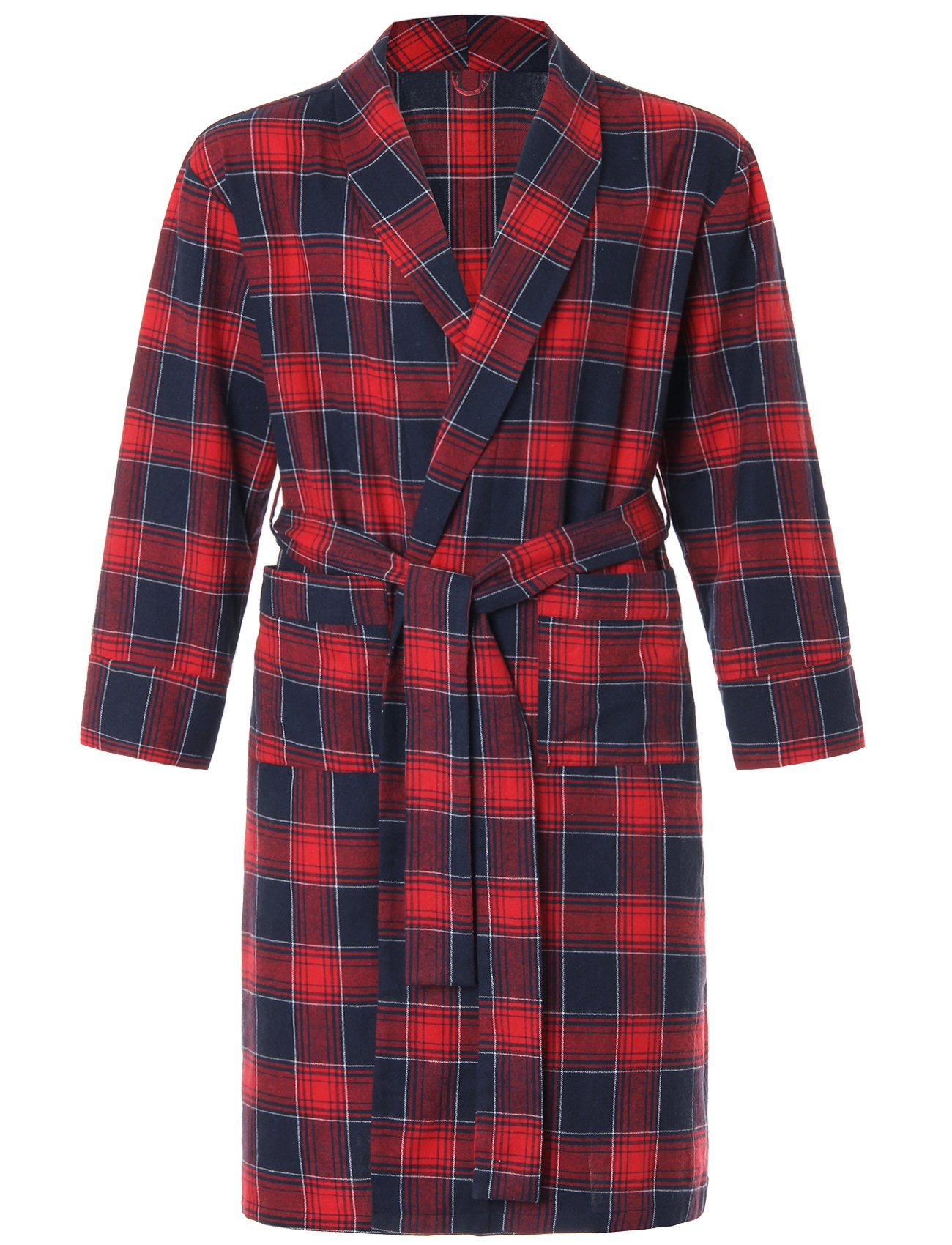 Image of A Best Seller: Blue and Red Plaid Flannel Robe for Men - See More Colors