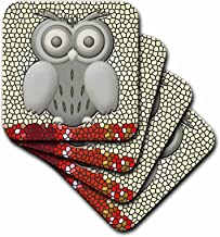 3dRose CST_108100_4 Cute Owl with Big Eyes and Pretty Background Ceramic Tile Coasters, Set of 8
