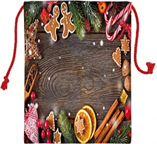 ABAKUHAUS Hombre de Pan de Jengibre Bolsa para Regalos, Especias Galletas Bolsa de Santa de Lona Estampada para Guardar Regalos y Afines, Multicolor, 50x65cm
