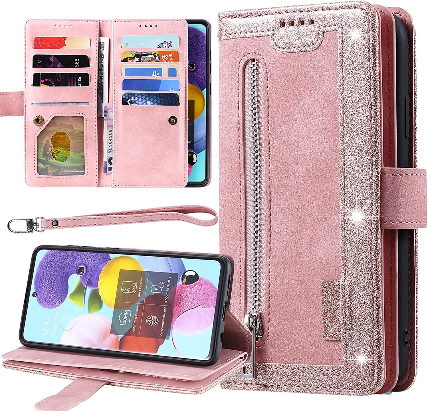 Galaxy A50 Bling Wallet Case, Harsel 9 Card Holder Premium PU Leather Wallet Women Purse Folio Flip Folding Cover Protective Shell with Lanyard Strap Wristlet and Zipper Pocket (Rose Gold)