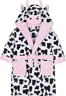 MiniKidz Girls Plush Fleece Novelty Cow Hood Dressing Gown