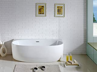 Pacific Collection Monte 5833-CR 58 in. Freestanding Oval Soaking Bathtub
