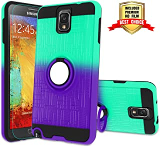 Galaxy Note 3 Case, Note 3 Phone Case with HD Screen Protector,Atump 360 Degree Rotating Ring Holder Kickstand Bracket Cover Phone Case for Samsung Galaxy Note III,N9000,N9005,Note 3 Mint/Purple