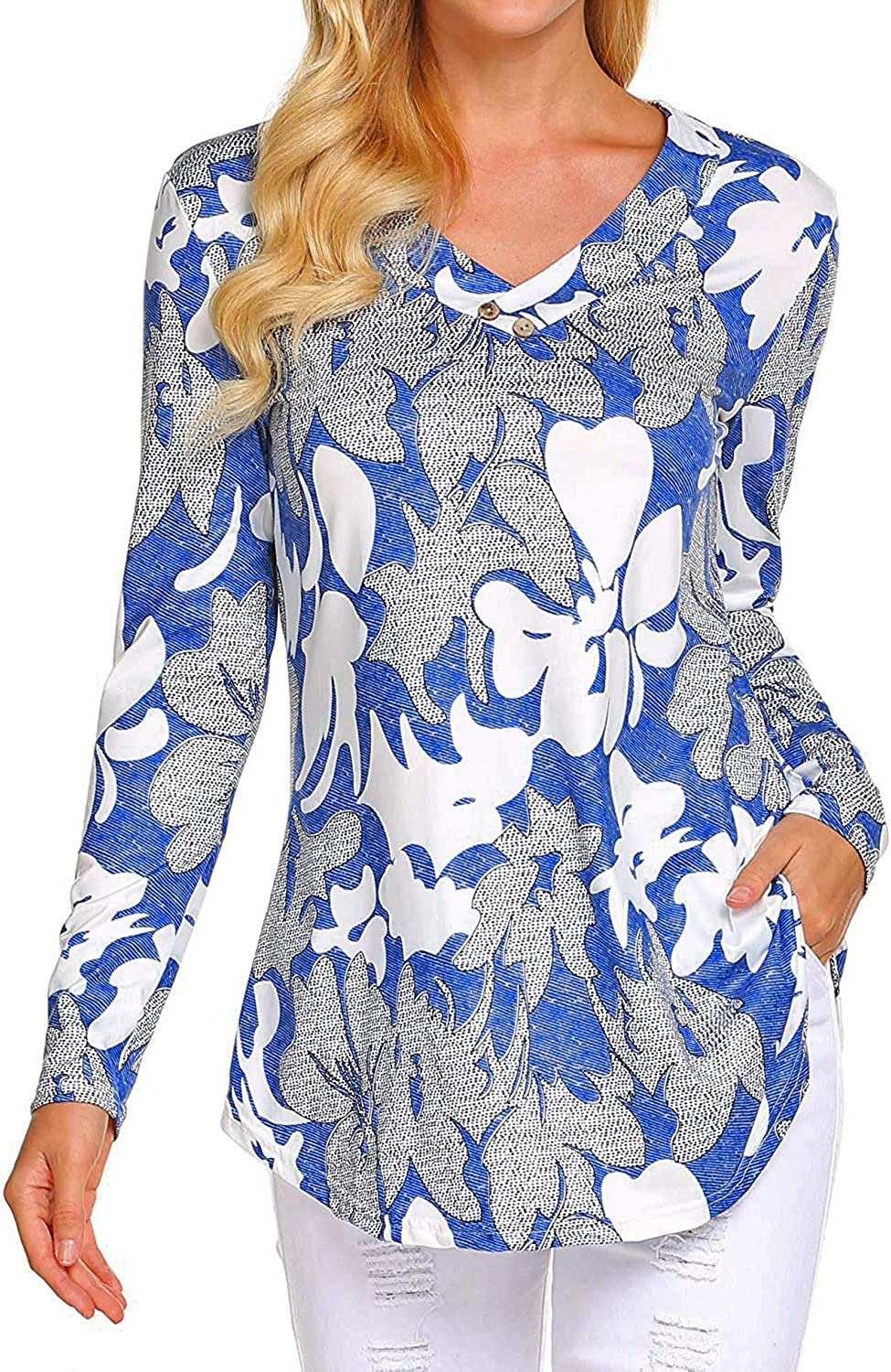 Sweetnight Womens Fall Long Sleeve Floral Print Tunic Tops Casual Loose Fitting Flowy Shirts Blouses
