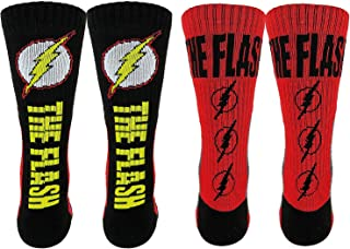 DC Comics Flash Athletic Crew Socks 2 Pair Pack (One Size, Red/Black/Yellow)