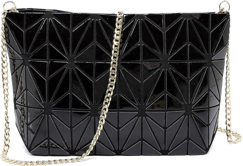 Geometric luminous purses and handbags shard lattice ecofriendly Leather crossbody bag