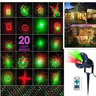 Laser Star Light Christmas LED Projector Light 20 pattern Landscape Laser Stage Shows Projector Light Waterproof Outdoor Garden Spotlight for Christmas Party Disco Wedding Birthday Decoration Lighting