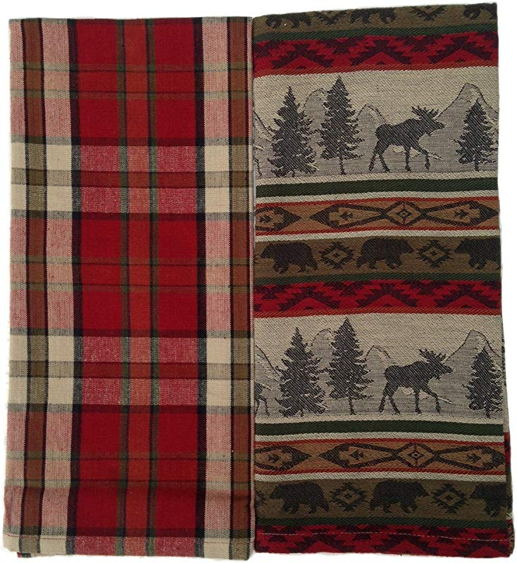DII Kitchen Towel Set Of 2 Jacquard Towels Plaid Dishtowel Woodland Animal Towel