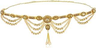 WomenSky Stylish Gold Polished Pearl Kamarpatta for Women
