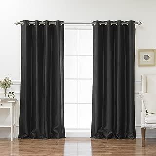 Best Home Fashion Black Dupioni Faux Silk Grommet Top Blackout Curtain 96