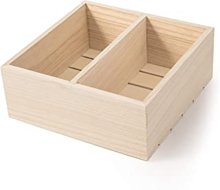 Darice 30041932 2-Compartment Unfinished 10 x 10 x 4.1 inches Wood Crate Natural