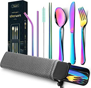 Best Teivio Reusable Camping Travel Utensils with Case Cutlery Flatware Set of Stainless Steel Fork, Spoon, Knife, Chopstick,Metal Straws and Brush(Rainbow, Full size) Review