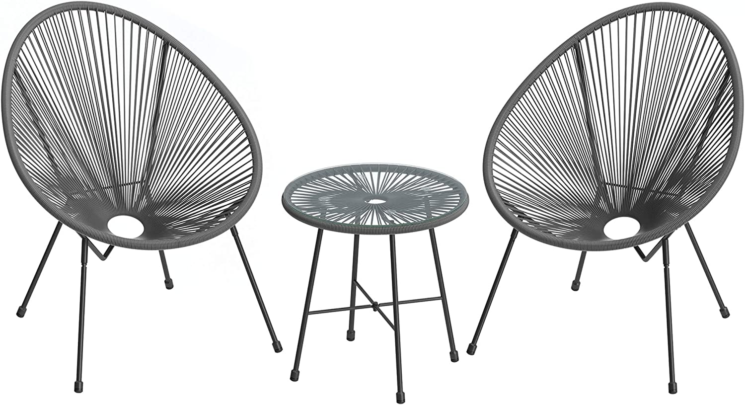 SONGMICS 3-Piece Outdoor Recommendation Seating Max 52% OFF Acapulco Chair Fu Patio Modern