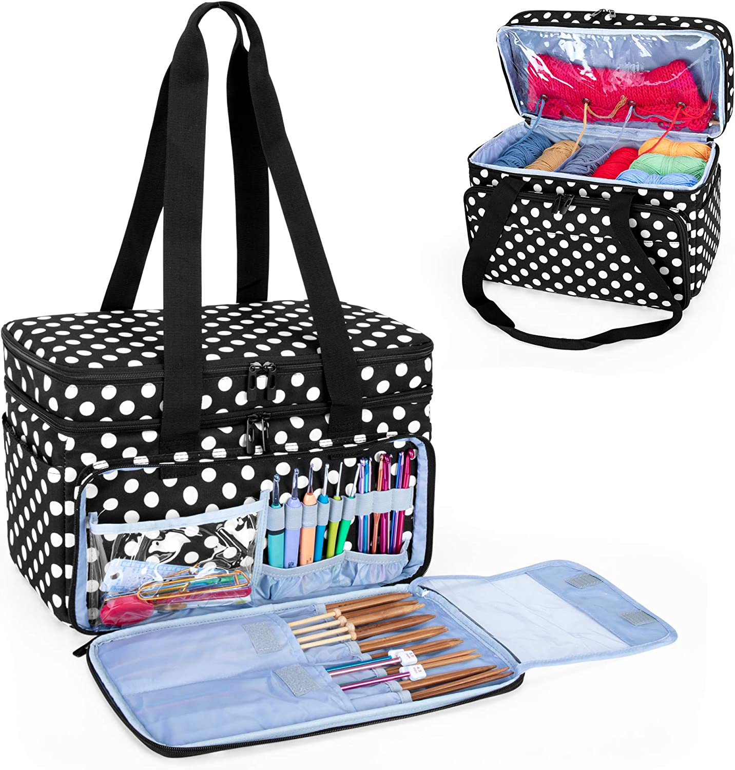 55% OFF CURMIO Double-Layer Knitting Tote Bag Com with Yarn Storage Branded goods