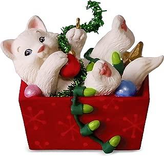 Hallmark Keepsake Christmas Ornament 2018 Year Dated White Cat, Mischievous Kittens