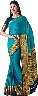 MIMOSA Kanjivaram Style Crepe Saree Color: Turquoise (4398-2451-2D-SAFF-NVY)