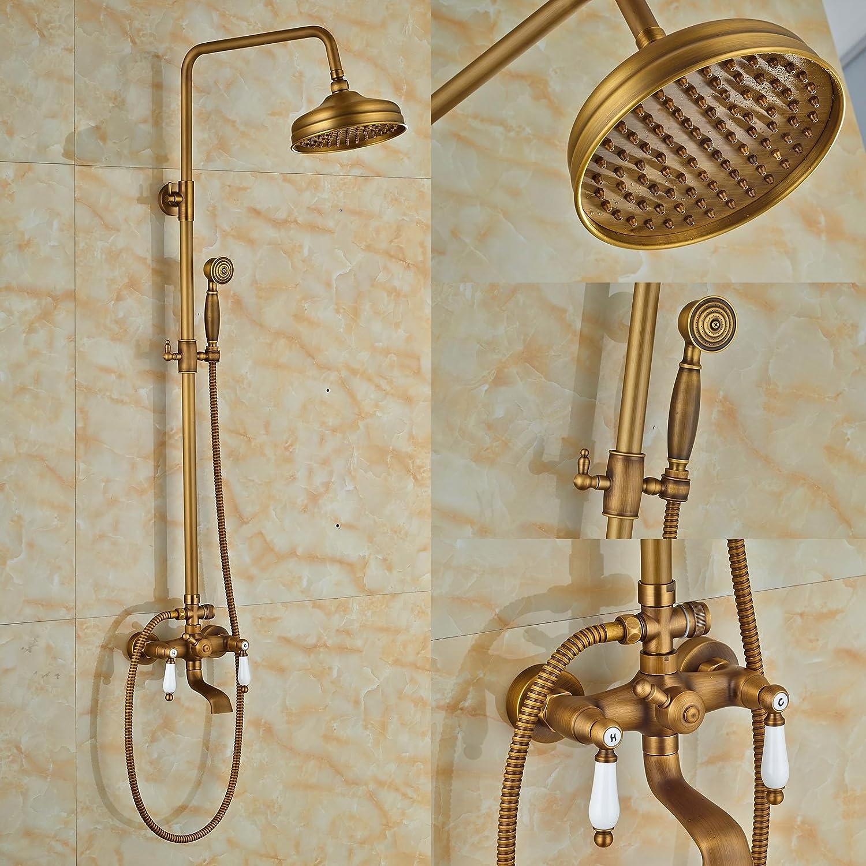 Rozinsanitary Mischbatterie für Waschbecken, Antik-Messing, Dusche, Badewanne, Wasserhahn, Wandhalterung, Wasserhahn mit Duschkpfen