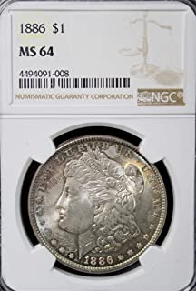 1886 Morgan Dollar - Beautiful Strike - Exceptional Coin $1 MS 64 Hard to Find in This Condition NGC
