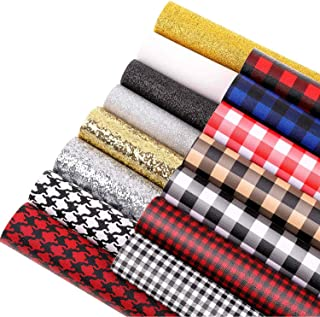 Shynek 15 Pcs Plaid Faux Leather Sheets Printed and Glitter PU Leather Fabric Sheets for Earring Bows Making, DIY Craft, Sewing (12
