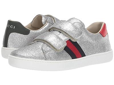 Gucci Kids New Ace V.L. Sneakers (Little Kid/Big Kid) (Argen/Marrone) Girl
