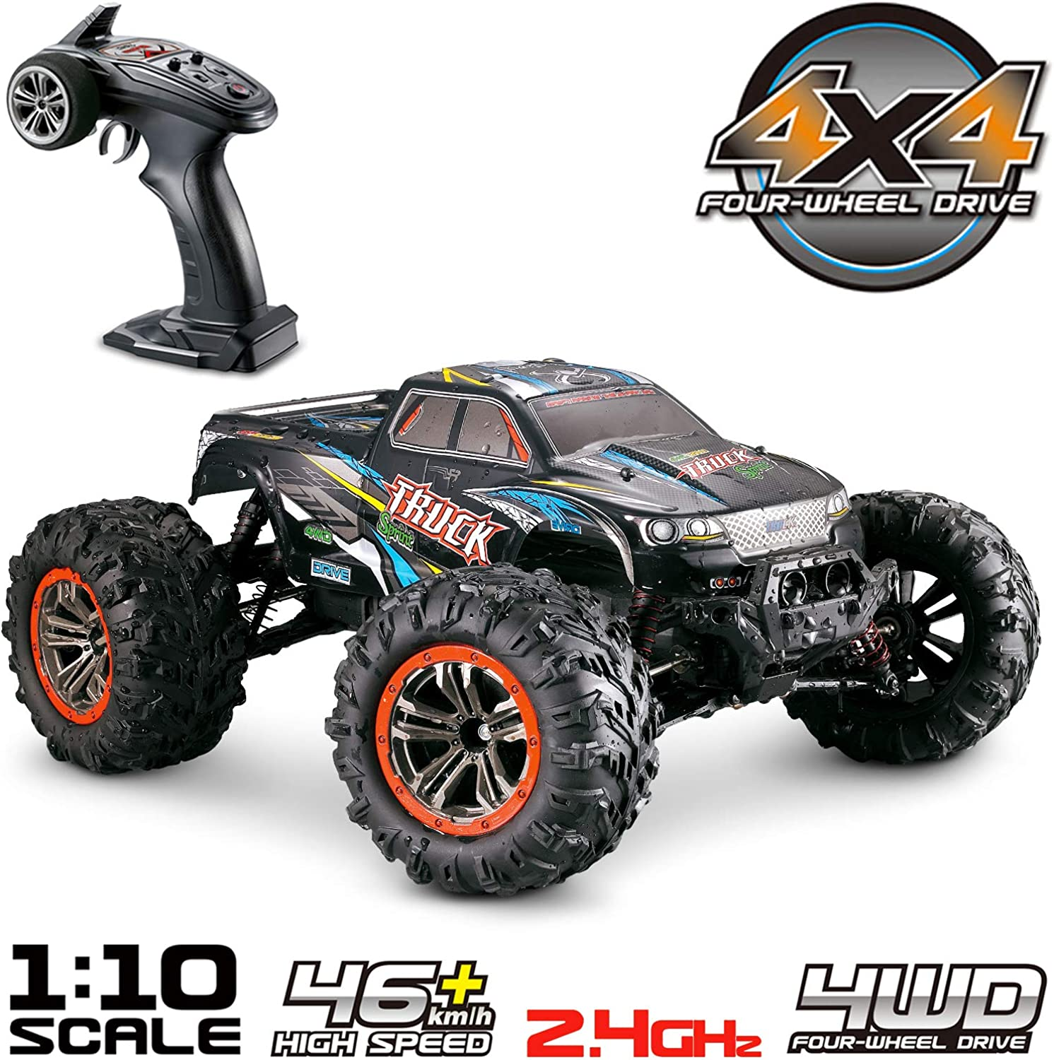 Hosim Large Size 1 10 Scale High Speed 46km h 4WD 2.4Ghz Remote Control Truck 9125, Radio Controlled OffRoad RC Car Electronic Monster Truck R C RTR Hobby Grade CrossCountry Car (bluee)